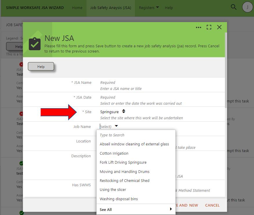 Create a JSA
